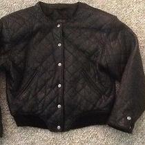 Vtg Black Leather Quilted Bomber Baseball Jacket S/m Photo