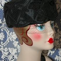 Vtg Black Pleated Taffeta Toque Pill Box Ladies Dress Hat W Blush Veil 1940s 50s Photo