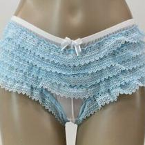 Vtg Blue Ruffled Bloomer Panties Nylon Hipsters Rumba Dance Panty M Photo