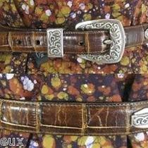 Vtg Brighton 1994 Scroll Usa Croc Lizard Embossed Leather Belt S/m Usa Photo