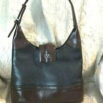 Vtgbrightonblack/brown Leathersingle Handlebucket Style Satchel/bag/purse  Photo