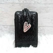 Vtg Brighton Black Weaved Croc Embossed Leather Cell Phone Accessory Case Photo