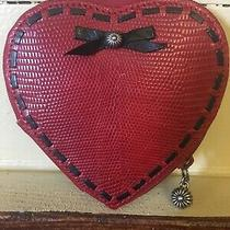 Vtg  Brighton Red Leather Heart Coin Purse W/silver Accents Photo