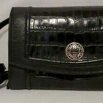 Vtg Brighton Small Black Croc Pattern Leather Crossbody/wallet/clutch in Euc  Photo