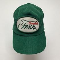 Vtg Campbells Fresh 1980s Usa Corduroy Green Patch Trucker Hat Cap Snapback Photo