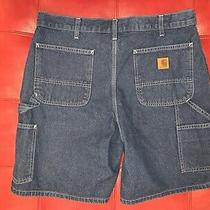 Vtg Carhartt B28 Dst Spell Out Leather Patch Denim Jean Shorts 90s Blue Size 36 Photo