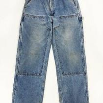 Vtg Carhartt Double Knee Front Work Dungaree Blue Jeans Mens 36x32 Union Usa Photo