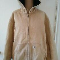 Vtg Carhartt Mens Quilt Lined Brown Duck J140 Distressed Work Jacket Sz 2xl Photo