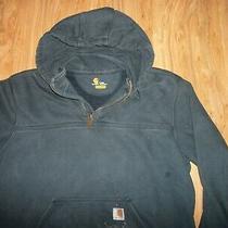 Vtg Carhartt Rain Defender Blue 1/4 Zip Hoodie Size L Tall Photo