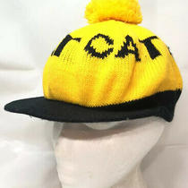 Vtg Cat Diesel Equipment Knit Pom Cap Company Logo Advertising Winter Hat 70s Photo
