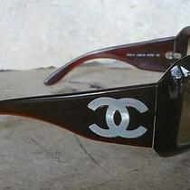 Vtg Chanel Sunglasses Brown Mother of Pearl Cc Logo 5076-H Italy  Case Bag Photo
