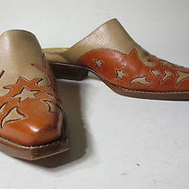 Vtg Charlie 1 Horse Brown Leather Slides Mules Clogs Stars Shoes 6.5 B Lucchese Photo