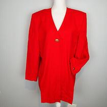 Vtg Christian Dior Red Poppy Jacket Coat Suit  Size 18  Photo
