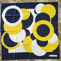 Vtg.  Christian Dior Silk Scarf  Navy Yellow White  the One Mint W/ Box Photo