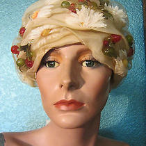 Vtg Christian Diorturbantoquefascinator Hattulle Over Daisy Floralcherries Photo