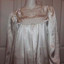 Vtg Christian Dior White Embroidered Long Sleeve Night Slip Sleepwear Lingerie P Photo