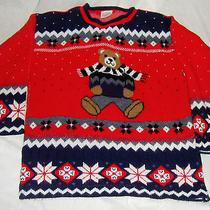 Vtg Christmas Teddy Bear Ugly Xmas Sweater Womens Classic Elements Petite Size M Photo