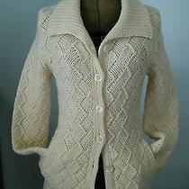 Vtg Chunky Basketweave Wool Hand Knit Cardigan Long Shawl Collar Sweater Coat S Photo