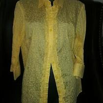 Vtg Classic Elements Med Yellow Floral Shirt Ruffled Button Placket  3/4 Sleeves Photo