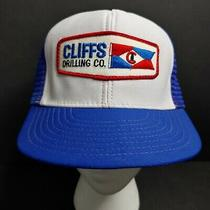 Vtg Cliffs Drilling Co Snapback Mesh Trucker Cap Hat Usa Red White Blue Patch Photo