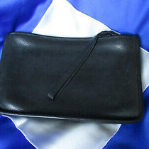 Vtg Coach Black Leather Clutch Handbag W/wristlet Inside Flap Pocket 030-4120 Photo