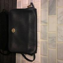 Vtg Coach Convertible Clutch Black Leather Crossbody Bag Purse 9635. Photo