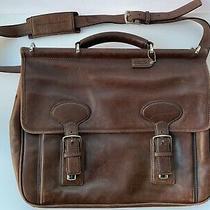 Vtg Coach Dark Brown Double Buckle Briefcase Attache Laptop Bag Leather Unisex Photo