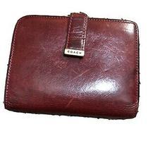 Vtg Coach Kisslock Wallet Red Brown Burgundy Leather Photo
