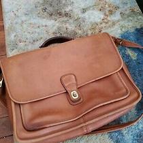 Vtg Coach Thick Leather Attache Briefcase Messenger Bag Saddle Tan Portfolio Photo