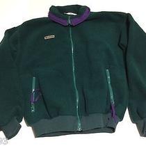 Vtg Columbia Mens Fleece Jacket Medium Green W/ Purple Full Zip Radial Sleeve  Photo
