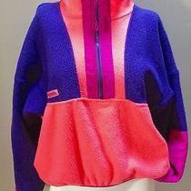 Vtg Columbia Neon Colorblock 1/2 Zip Fleece Jacket Radial Sleeve Ladies Xl Photo