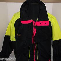 Vtg Columbia Powder Keg Ski Jacket Nylon Winter Snow Coat Radial Sleeve Neon Xl Photo