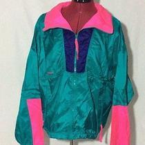 Vtg Columbia Radial Sleeve Neon Full Zip Shiny Nylon Windbreaker Jacket Photo