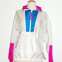 Vtg Columbia Retro 80s Women's White Pink Blue Full Zip Windbreaker Radial Xl Photo