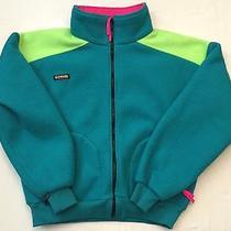 Vtg Columbia Usa Radial Sleeve Teal Neon Green Full Zip Poly Fleece Mens L Photo