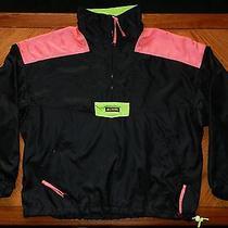 Vtg Columbia Windbreaker Jacket 80s 90s Neon Mens L Satin Nylon Radial Sleeve Photo