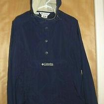 Vtg Columbia Womens Xl Pullover Rain Jacket Anorak Pouch Hooded Windbreaker Navy Photo