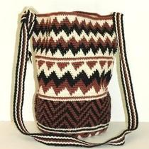 Vtg Cotton Knit Hobo Bucket Bag  Ziz Zag Crochet Messenger Purse Photo