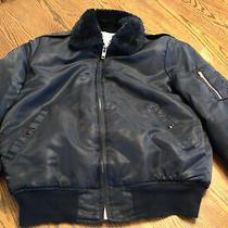 Vtg Dickies Size M Men's Nylon Faux Fur Fleece Lined Aviator Bomber Jacket Navy Photo