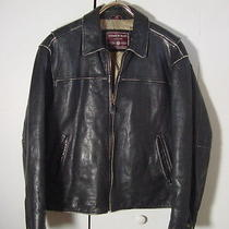 Vtg Distressed Andrew Marc Black Leather Insulated Rocker Motorcycle Jacket Sz M Photo