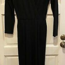 Vtg Donna Karan New York Jumpsuit Black Long Sleeve v Neck Wool Saks Fifth Ave Photo