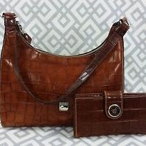 Vtg Dooney & Bourke Croc Embossed Brown Leather Shoulder Bag Wallet Set Handbag Photo