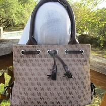 Vtg Dooney & Bourke Khaki Brown Signature Leather Tassel Tote Satchel Bag Purse Photo