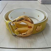 Vtg Escada Yellow/white Leather W/ Gold Metal Floral Studded Belt 40 Photo