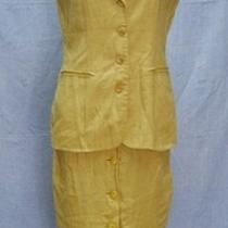 Vtg Express 2pc Linen Suit Yellow Button Down Skirt Vest Sleeveless Sz M Q67 Photo