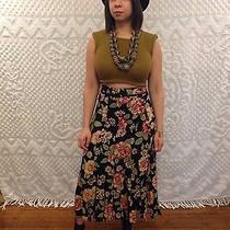 Vtg Express Boho Grunge Maxi Skirt1990s // Multi-Color Floral Rayon // Size S Photo