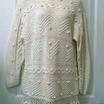 Vtg. Express Internationale Handknitted Cable Knit Crocheted Long Sweater Top-M Photo