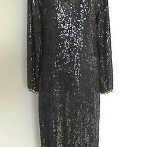 Vtg Fantasy by Lisa Kane Silk Dress Mother of Pearl Beading Sequins Black Medium Photo