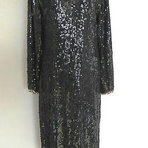 Vtg Fantasy by Lisa Kane Silk Dress Mother of Pearl Beading Sequins Black Medium Photo