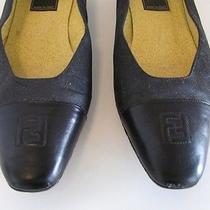 Vtg Fendi Italy Logo Cap Toe Loafer Flats 6.5 Photo
